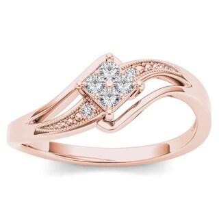 De Couer 10k Rose Gold 1/10ct TDW Diamond Bypass Engagement Ring