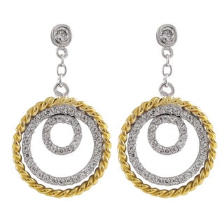 Luxiro Two-tone Sterling Silver Gold Finish Cubic Zirconia Circle Dangle Earrings