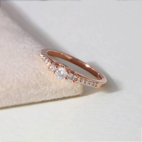 De Couer IGI Certified 10k Rose Gold 1/3ct TDW Diamond Three-Stone Anniversary Ring - Pink