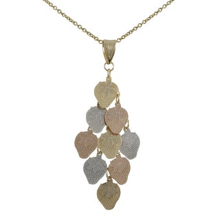 Luxiro Tri-color Gold Finish Strawberry Chandelier Pendant Necklace