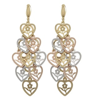 Luxiro Tri-color Gold Finish Flower Cutout Hearts Chandelier Dangle Earrings