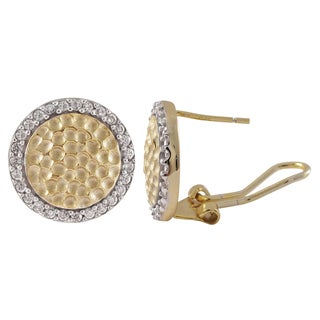 Luxiro Two-tone Sterling Silver Hammered Gold Finish Cubic Zirconia Halo Earrings