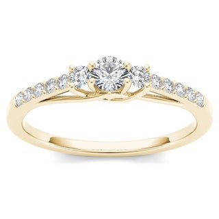 De Couer 10k Yellow Gold 1/3ct TDW Diamond Three-Stone Anniversary Ring (H-I, I2)