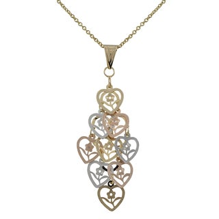 Luxiro Tri-color Gold Finish Flower Cutout Hearts Chandelier Pendant Necklace