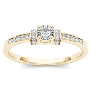 De Couer 10k Yellow Gold 1/4ct TDW Diamond Classic Engagement Ring