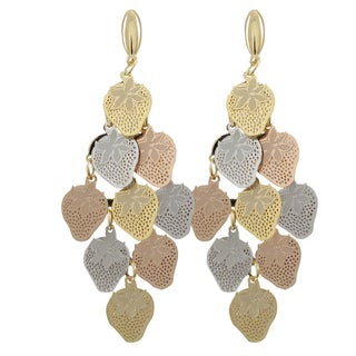 Luxiro Tri-color Gold Finish Strawberry Chandelier Dangle Earrings