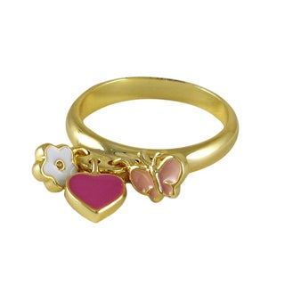 Luxiro Gold Finish Children's Multi Color Enamel Heart Flower Butterfly Ring - Pink