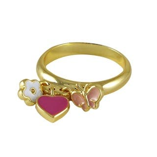 Luxiro Gold Finish Children's Multi Color Enamel Heart Flower Butterfly Ring - Pink (Option: 4)|https://ak1.ostkcdn.com/images/products/10399125/P17501491.jpg?impolicy=medium