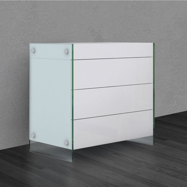 Il Vetro Collection High Gloss White Lacquer Tall Dresser Nightstand