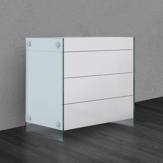 Il Vetro Collection High Gloss White Lacquer Tall Dresser/ Nightstand