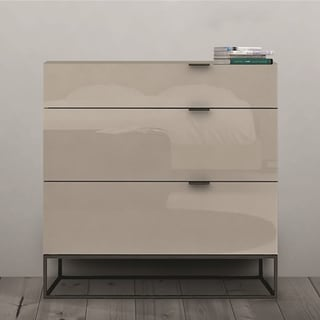Vizzione Collection High Gloss Grey Lacquer Tall Dresser/ Nightstand