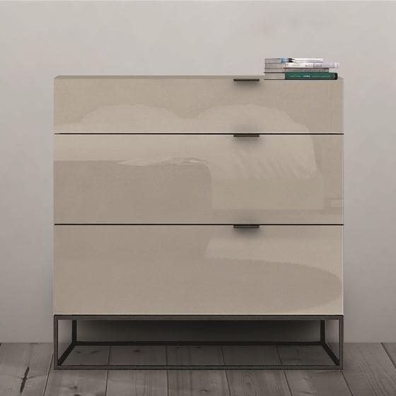 Attirant Vizzione Collection High Gloss Grey Lacquer Tall Dresser/ Nightstand