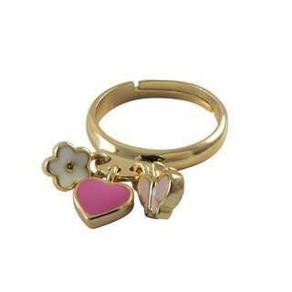 Luxiro Gold Finish Children's Enamel Heart Flower Butterfly Adjustable Ring - Pink