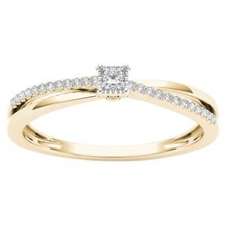 De Couer 10k Yellow Gold 1/8ct TDW Diamond Split-Shank Engagement Ring (H-I, I2)