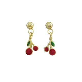 Luxiro Sterling Silver Gold Finish Children's Red Enamel Cherry Dangle Earrings
