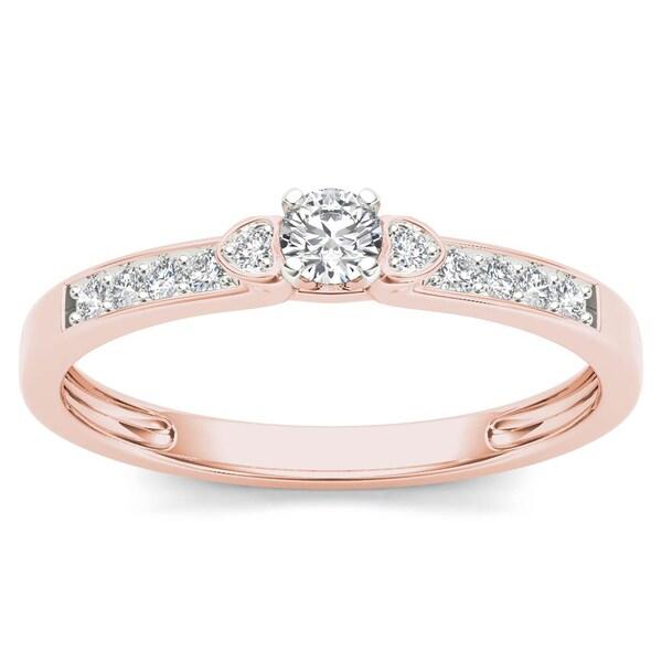 De Couer 10k Rose Gold 1/5ct TDW Diamond Classic Engagement Ring - Pink