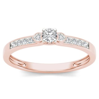 De Couer 10k Rose Gold 1/5ct TDW Diamond Classic Engagement Ring