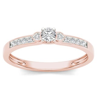 De Couer 10k Rose Gold 1/5ct TDW Diamond Classic Engagement Ring