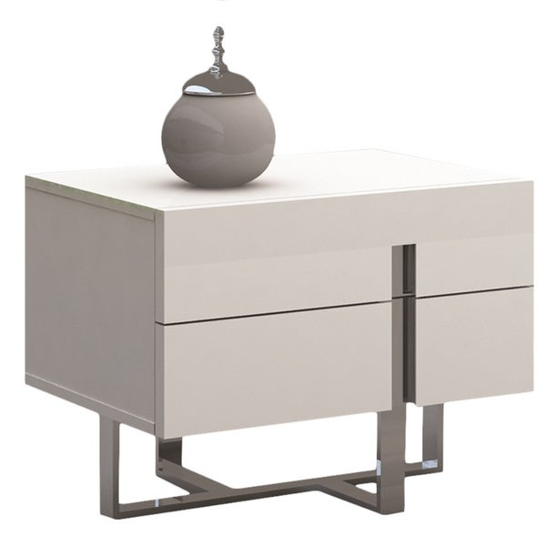 Superbe Collins Collection High Gloss White Lacquer Nightstand/ End Table