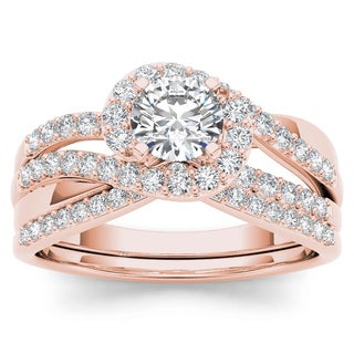 De Couer 14k Rose Gold 1ct TDW Diamond Bypass Halo Engagement Ring Set with One Band - Pink