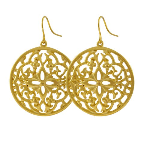 Luxiro Matte Gold Finish Filigree Celtic Circle Medallion Dangle Earrings - White