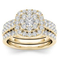 De Couer 14k Yellow Gold 1 1/2ct TDW Diamond Halo Engagement Ring Set with Two Bands