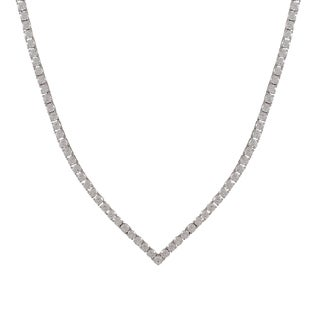 Luxiro Sterling Silver Cubic Zirconia V Tennis Necklace