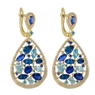 Luxiro Sterling Silver Gold Finish Created Ruby and Sapphire with Cubic Zirconia Teardrop Earrings