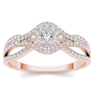 De Couer 10k Rose Gold 1/2ct TDW Diamond Halo Engagement Ring - Pink