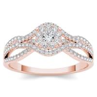 De Couer 10k Rose Gold 1/2ct TDW Diamond Halo Engagement Ring - Pink