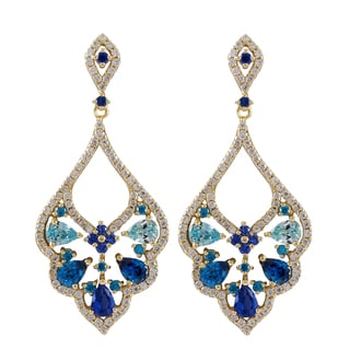 Luxiro Sterling Silver Gold Finish Created Ruby and Sapphire with Cubic Zirconia Baroque Earrings