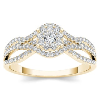 De Couer 10k Yellow Gold 1/2ct TDW Diamond Halo Engagement Ring