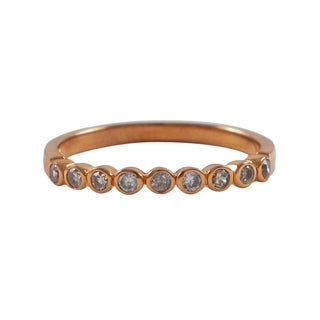 Luxiro Rose Goldtone Sterling Silver Cubic Zirconia Right Hand Ring - White