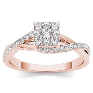 De Couer 10k Rose Gold 1/2ct TDW Diamond Bypass Cluster Engagement Ring - Pink