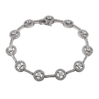 Luxiro Sterling Silver Cubic Zirconia Square Halo Tennis Bracelet