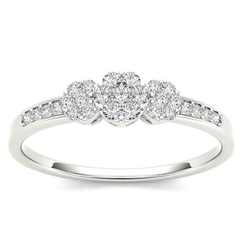 De Couer IGI Certified 10k White Gold 1/5ct TDW Diamond Cluster Engagement Ring