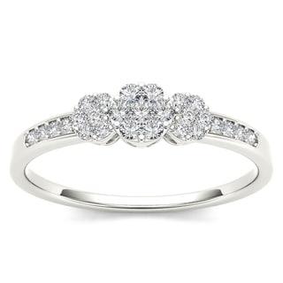 De Couer 10k White Gold 1/5ct TDW Diamond Cluster Engagement Ring - White H-I