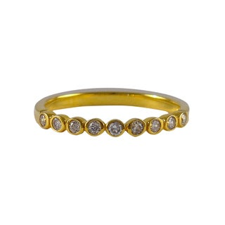 Luxiro Sterling Silver Gold Finish Bezel Cubic Zirconia Right Hand Ring