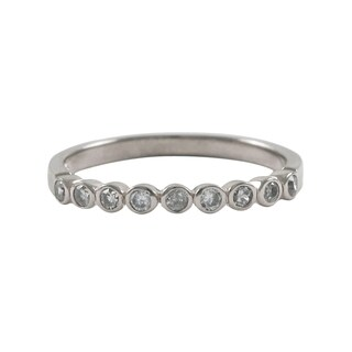 Luxiro Sterling Silver Bezel Cubic Zirconia Right Hand Ring