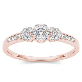 De Couer 10k Rose Gold 1/5ct TDW Diamond Cluster Engagement Ring