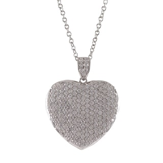 Luxiro Sterling Silver Micropave Cubic Zirconia Heart Pendant Necklace