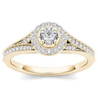 De Couer 14k Yellow Gold 5/8ct TDW Diamond Halo Engagement Ring