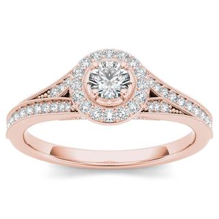 De Couer 14k Rose Gold 5/8ct TDW Diamond Halo Engagement Ring (H-I, I2)