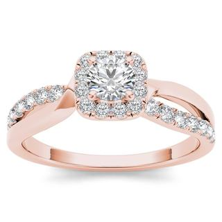 De Couer 14k Rose Gold 3/4ct TDW Diamond Halo Engagement Ring - Pink