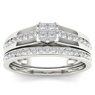De Couer 10k White Gold 1/2ct TDW Diamond Classic Engagement Ring