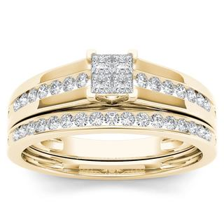 De Couer 10k Yellow Gold 1/2ct TDW Diamond Classic Engagement Ring Set with One Band (H-I, I2)