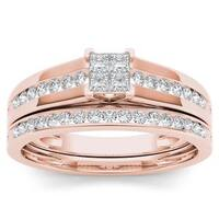 De Couer 10k Rose Gold 1/2ct TDW Diamond Classic Engagement Ring with One Band - White
