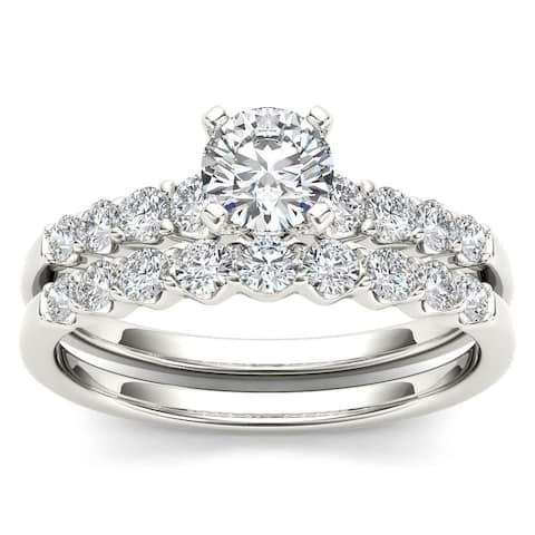 De Couer 14k White Gold 1ct TDW Diamond Classic Engagement Ring Set with One Band