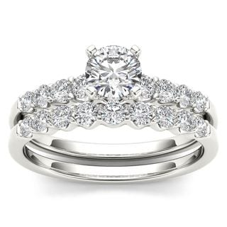 De Couer 14k White Gold 1ct TDW Diamond Classic Engagement Ring Set with One Band - White H-I