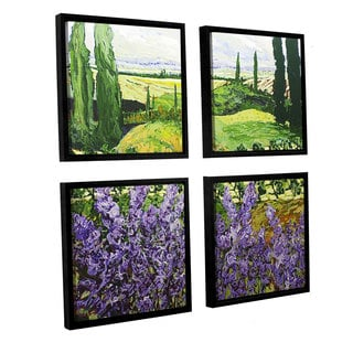 ArtWall Allan Friedlander 'Chinaberry Hill' 4 Piece Floater Framed Canvas Square Set